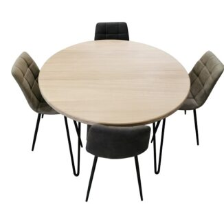 Rustikt runt bord – ek – Ø 95–230 cm(2)