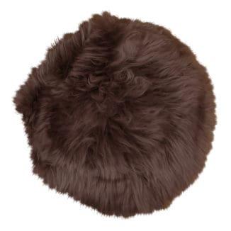 Nya zeeländsk lammskinnsdyna – brun – rund
