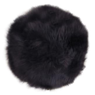 Nya zeeländsk lammskinnsdyna – svart – rund