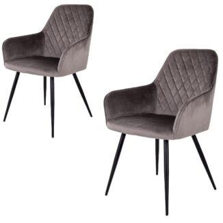 Harbo matbordsstol – grå velour – 2 st. - Bord