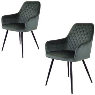 Harbo matbordsstol – grön velour – 2 st.