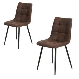 Middelfart matbordsstol – mörkbrun – svart – 2 st.