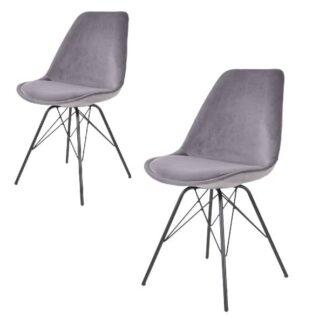 Oslo matbordsstol – grå velour – 2 st.