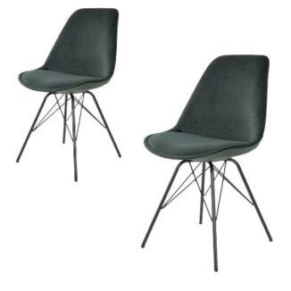Oslo matbordsstol – grön velour – 2 st.