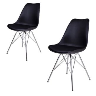 Oslo matbordsstol – svart – krom – 2 st.