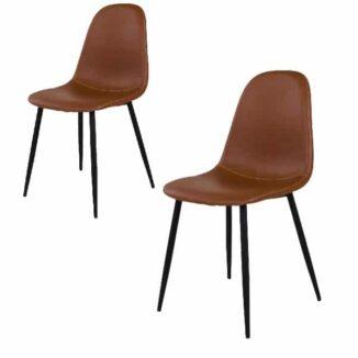 Stockholm matbordsstol – ljusbrun vintage – svart – 2 st. - 1