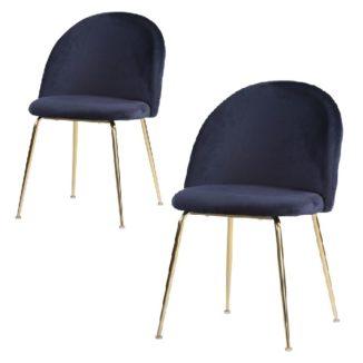 Geneve matbordsstol – blå/mässing – 2 st - 3