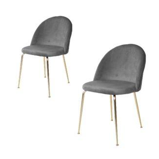 Geneve matbordsstol – grå/mässing – 2 st - Stol