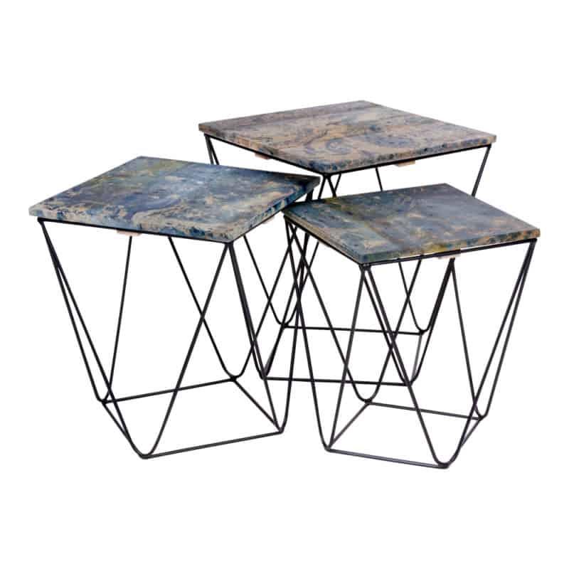 Ranchi soffbord – blå marmorlook – 3 st