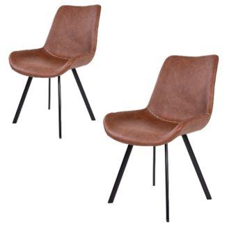 Dagmar matbordsstol – brun – svart – 2 st - 2
