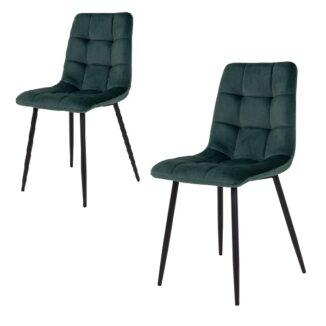 Middelfart  matbordsstol – Grön velour – svart – 2 st