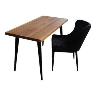 Skrivbord Amerikansk valnötbord med svart koniskt ben (2)
